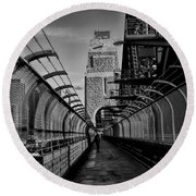 Sydney Harbor Bridge Bw Round Beach Towel