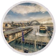 Sydney Harbor I Round Beach Towel