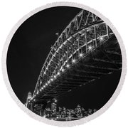 Sydney Harbour Bridge At Night Round Beach Towel
