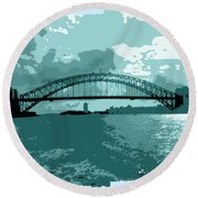 Sydney Harbour Fantasy In Blue Round Beach Towel by Leanne Seymour