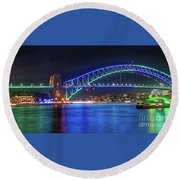 Sydney Harbour Green And Blue By Kaye Menner Round Beach Towel