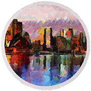 Sydney Here I Come Round Beach Towel by Sir Josef - Social Critic - ART