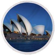 Sydney Opera House After Dark Round Beach Towel