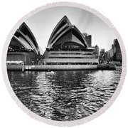 Sydney Opera House-black And White Round Beach Towel