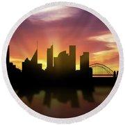 Sydney Skyline Sunset Ausy22 Round Beach Towel