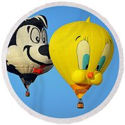 Round Beach Towel featuring the photograph Sylvester And Tweety Balloons by AJ Schibig