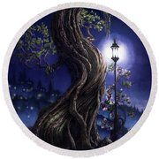 Round Beach Towel featuring the painting Sylvia And Her Lamp At Dusk by Curtiss Shaffer