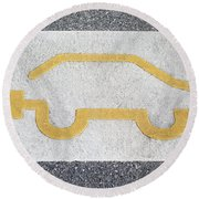 Symbol For Electric Car Round Beach Towel