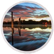 Symetry On The River Round Beach Towel