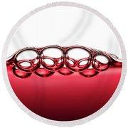 Symmetrical Red Wine Bubbles Round Beach Towel
