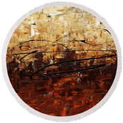 Round Beach Towel featuring the painting Symphony by Carmen Guedez