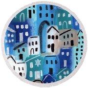 Synagogue- City Stories Round Beach Towel