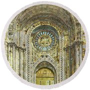 Round Beach Towel featuring the mixed media Synagogue by Tony Rubino