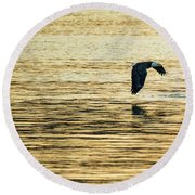 Synchronized Bald Eagles At Dawn 1 Of 2 Round Beach Towel by Jeff at JSJ Photography