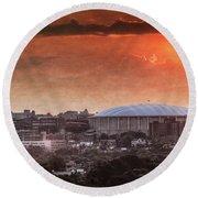Syracuse Sunrise Over The Dome Round Beach Towel