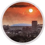 Syracuse Sunrise Over The Dome Round Beach Towel by Everet Regal