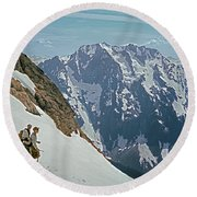 T-04402 Fred Beckey And Joe Hieb After First Ascent Forbidden Peak Round Beach Towel