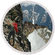 T-04403 Walt Buck Sellers On First Ascent Of Mt. Torment Round Beach Towel