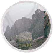 T-04701 Fred Beckey On Mt. Si 1958  Round Beach Towel