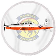 T-6b Texan II Vt28 Round Beach Towel by Arthur Eggers