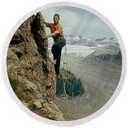 T-902901 Fred Beckey Climbing Round Beach Towel