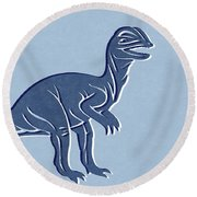T-rex In Blue Round Beach Towel