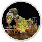 T-rex In The Desert Night Round Beach Towel