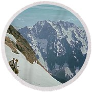 T04402 Beckey And Hieb After Forbidden Peak 1st Ascent Round Beach Towel