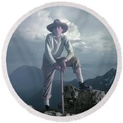 Round Beach Towel featuring the photograph T104800 Ed Cooper On First Climb Pinnacle Peak Wa 1953 by Ed Cooper Photography