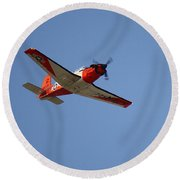 T34 Mentor Trainer Flying Round Beach Towel