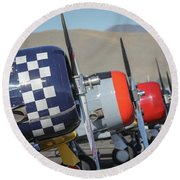 T6 Flight Line At Reno Air Races Round Beach Towel