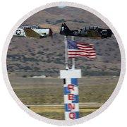 T6 Tango At Reno Air Races Home Pylon Finish Line Round Beach Towel