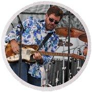 Tab Benoit Plays His 1972 Fender Telecaster Thinline Guitar Round Beach Towel