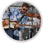 Tab Benoit Plays His 1972 Fender Telecaster Thinline Guitar Round Beach Towel
