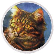 Tabby Blue Round Beach Towel