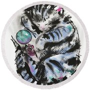 Tabby Dreams Round Beach Towel