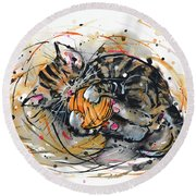 Round Beach Towel featuring the painting Tabby Kitten Playing With Yarn Clew  by Zaira Dzhaubaeva