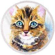 Tabby Kitten Watercolor Round Beach Towel