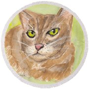 Tabby With Attitude Round Beach Towel