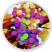 Round Beach Towel featuring the photograph Table Grapes by Timothy Bulone