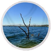 Table Rock Lake Kimberling City Round Beach Towel