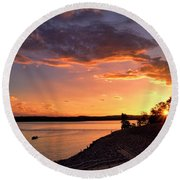 Round Beach Towel featuring the photograph Table Rock Sunset by Cricket Hackmann
