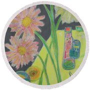 Table Scape Round Beach Towel