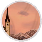 Tabor Church At Sunrise Round Beach Towel