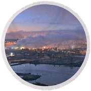 Tacoma Dawn Panorama Round Beach Towel by Sean Griffin