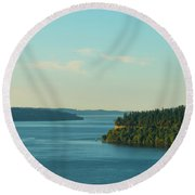Tacoma Narrows And Commencement Bay II Round Beach Towel