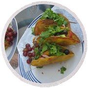 Round Beach Towel featuring the photograph Tacos Almost Mirrored by Marie Neder