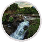 Tad Lo Waterfall, Bolaven Plateau, Champasak Province, Laos Round Beach Towel by Sam Antonio Photography