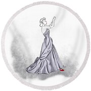 Round Beach Towel featuring the digital art Taffeta Gown by Cindy Garber Iverson