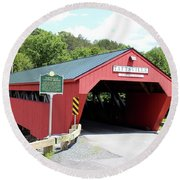 Taftsville Covered Bridge Round Beach Towel